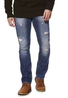 F&F Distressed Slim Leg Jeans Mid Wash 30 Waist 34 Leg