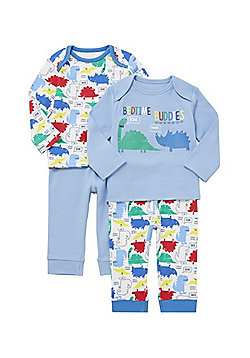 F&F 2 Pack of Dinosaur and Slogan Print Pyjamas - Multi