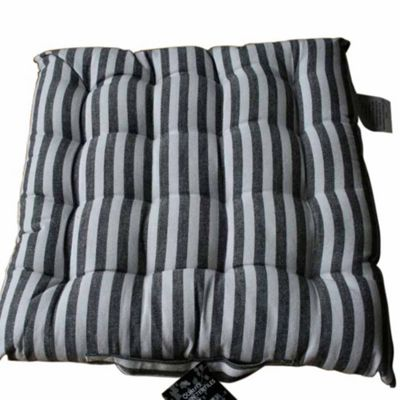 Homescapes Cotton Black & White Striped Seat Pad with Ties