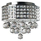 Grosvenor 3 Way LED K9 Crystal Droplet Flush Ceiling Light Chrome
