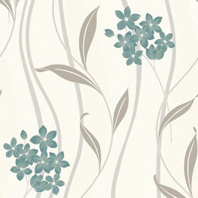 Superfresco Elise Textured Metallic Floral Teal/Silver Wallpaper