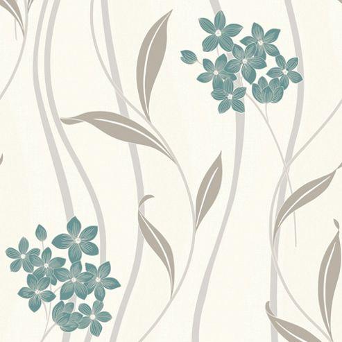 Superfresco Elise Floral Teal/Silver Wallpaper