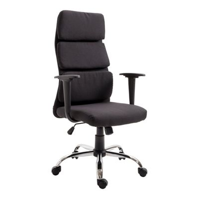 Homcom Linen Fabric Office Chair Executive Swivel Height Adjustable Tilt Seat - Black