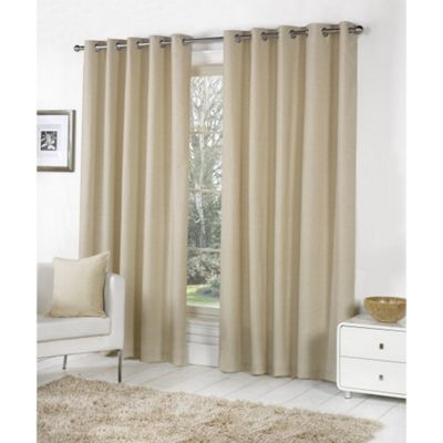 Fusion Sorbonne Eyelet Lined Curtains Natural - 46x54 (117x137cm)