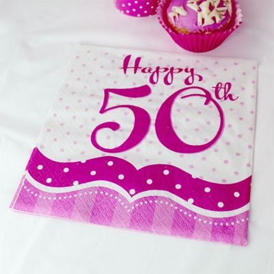 50th Birthday Perfectly Pink Luncheon Napkins - 2ply Paper