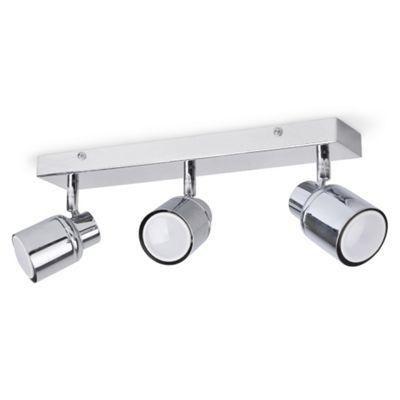 Benton IP44 Three Way LED Bar Spotlight, Chrome & Daylight GU10 Bulbs