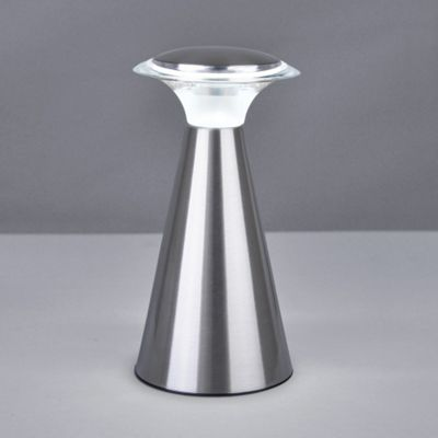 Harrier Modern Battery Operated LED Touch Table Lamp, Brushed Chrome