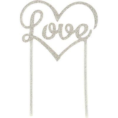 Love Silver Glitter Cake Topper - 22cm