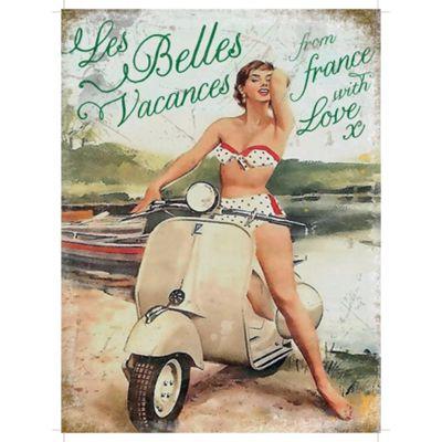 Vespa Les Belles Metal Sign - 30x40cm