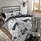 Dreamscene Christmas Duvet Cover Set Reindeer Postcard Black White - Black