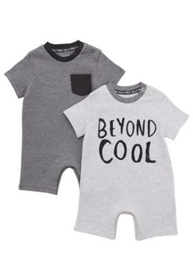 F&F 2 Pack of Beyond Cool and Grindle Stripe Rompers Grey 0-3 months