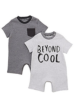 F&F 2 Pack of Beyond Cool and Grindle Stripe Rompers - Grey