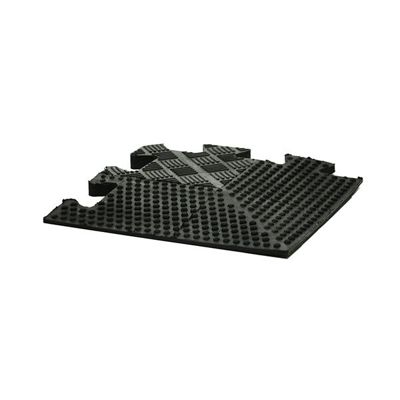 Bodymax Rubber Interlocking Floor Mats - Black Tapered Corner - 185mm x 185mm x 12mm tapered