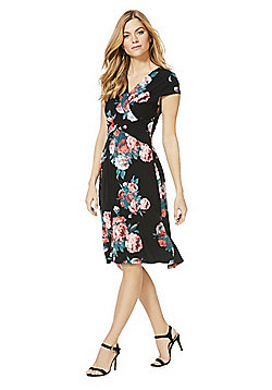 Izabel London Wrap Front Dress - Black & Multi