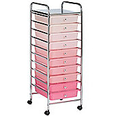 VonHaus 10 Drawer Pink Ombre Mobile Storage Trolley