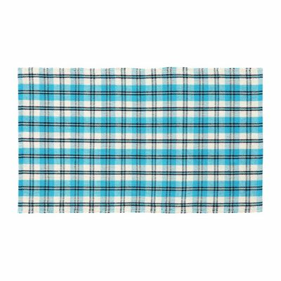 Homescapes Irvine Handwoven Blue Tartan 100% Cotton Rug, 120 x 170 cm