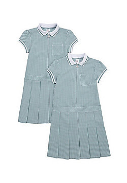 F&F School 2 Pack of Permanent Pleat Gingham Dresses - Green & White