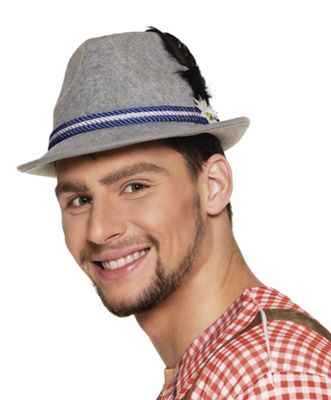 Grey Trilby Oktoberfest Hat With Feather Bavarian Fancy Dress Accessory