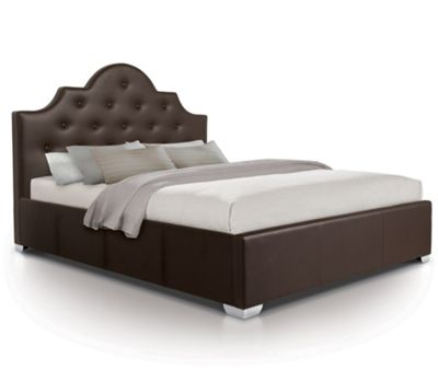 Diamante Oversized Ottoman Gas Lift Storage Bed Upholstered in Faux Leather - Double - Brown