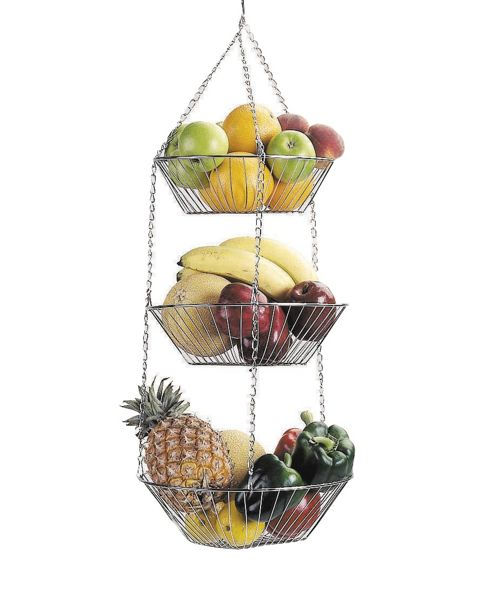 KitchenCraft Three Tier Hanging Vegetable and Fruit Basket in Chrome