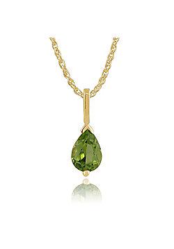 Gemondo 9ct Yellow Gold 0.66ct Pear Cut Peridot Single Stone Pendant on Chain