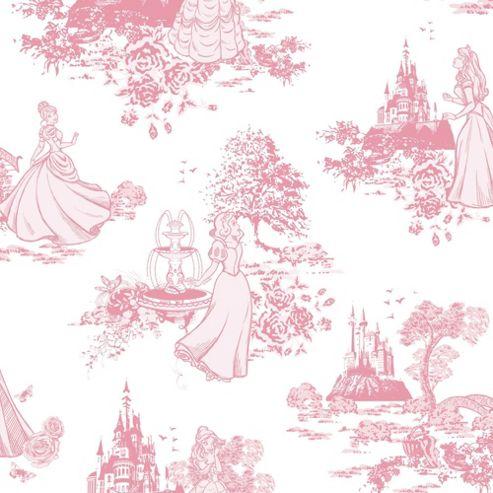 Graham & Brown Princess Toile Print Pink/White Wallpaper