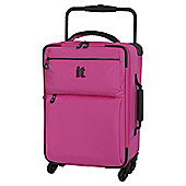 IT Luggage World's Lightest 4-Wheel Pink Check Small Suitcase