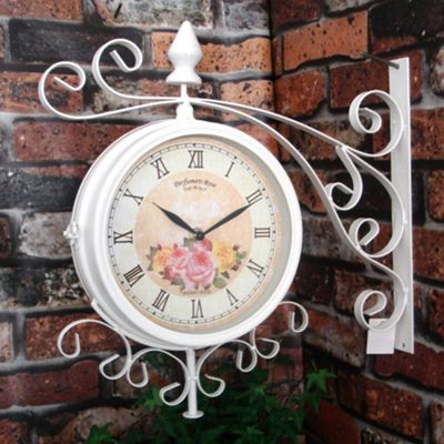 Charles Bentley Cream Vintage 37cm Double Sided Metal Outdoor Bracket Wall Clock