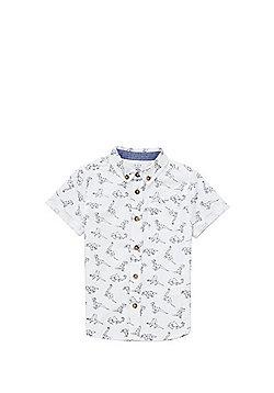 F&F Geometric Dinosaur Print Shirt - White & Blue