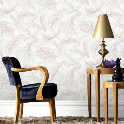 Designer Julien MacDonald Glitter Gilded Feather Pink / Lilac Wallpaper