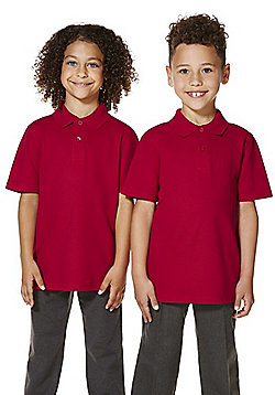 """F&F School 2 Pack of Boys Teflon EcoElite""""™ Polo Shirts with As New Technology - Red"""
