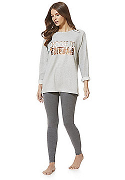 F&F Choose To Snooze Slogan Pyjamas - Grey