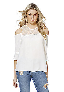 F&F Lace Yoke Crinkle Cold Shoulder Top - Cream