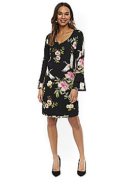Wallis Oriental Bird Print Bell Sleeve Dress - Black
