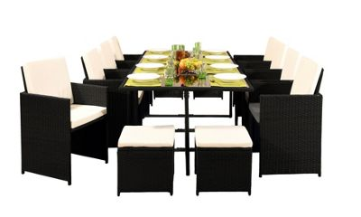 Comfy Living 12 Seater Rattan Outdoor Garden Furniture Set In Black With Cover - 8 Chairs 4 Stools & Dining Table