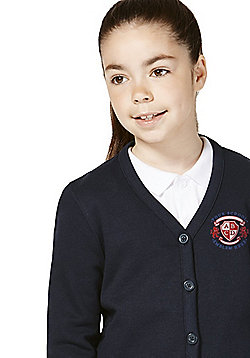 Girls Embroidered Jersey School Cardigan with As New Technology - Navy
