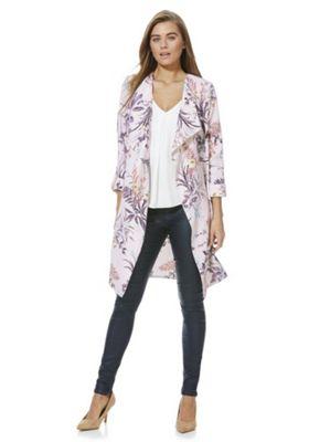 F&F Leaf Print Waterfall Jacket Pink Multi 14