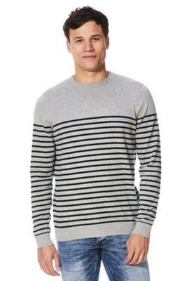 F&F Striped Fine Knit Jumper 3XL Grey & Navy