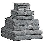Dreamscene Luxury Egyptian Cotton 10 Piece Bathroom Towel Set - Silver