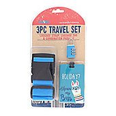 Globetrek Luggage Strap and Tag Set, Blue