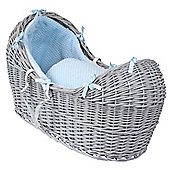 Clair de Lune Grey Noah Pod Moses Basket (Honeycomb Blue)