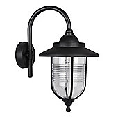 Modern Eyam IP44 Outdoor Swan Neck Wall Light in Black