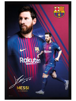Barcelona FC Black Wooden Framed Messi Collage 17-18 Poster