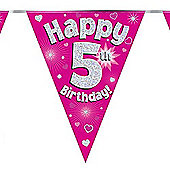 Oak Tree 5th Birthday Pink Holographic Foil Bunting 11 Flags