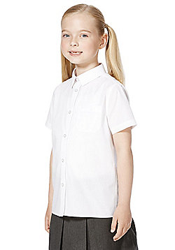 F&F School 2 Pack of Girls Stain Resistant Short Sleeve Shirts - White