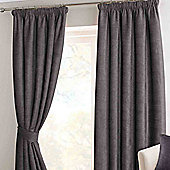 Homescapes Pewter Chenille Pencil Pleat Lined Curtain Pair, 66 x 72""