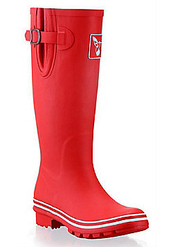 Evercreatures Ladies Rubber Wellies Solid With White Edging in Red - Size 4 (UK)