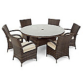 Nova - Toulouse 6 Seat Dining Set - 1.3m Round Table - Brown