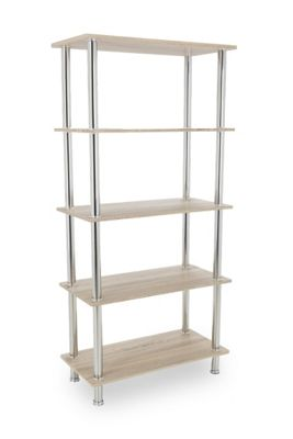 AVF S25WO Tall Five Tier Shelving Unit with Chrome Legs - Whitewashed Oak