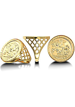 Men's Solid 9ct Yellow Gold St George Dragon Slayer Basket Half-Sovereign-Size Ring